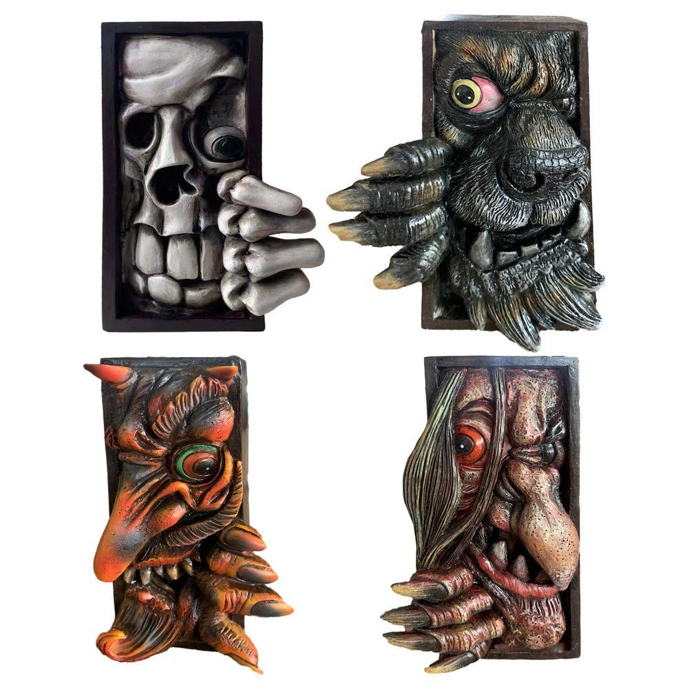 Human Face Monsters Resin Bookends Bookstand Sculpture Bookshelf Decor Sculpture Halloween Home Party Decoration Supplies