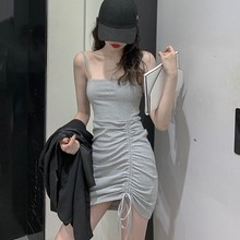 Sexy Slash Neck Summer Dress Ruched Drawstring Bodycon Mini Spaghetti Strap Womens