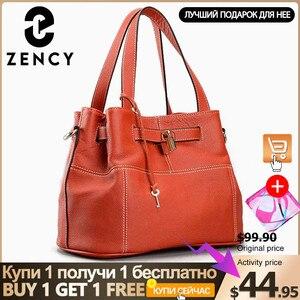 Image 1 - Zency 100% miękkie prawdziwej skóry eleganckie kobiety torba na ramię urok pomarańczowy moda Messenger Crossbody torebka z torebka na zamek