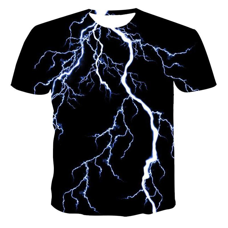 New Round Neck T-Shirt Men'S HighQuality Men'S T-Shirt Short-Sleeved Lightning Flame 3d Printing Fashion Handsome Men'S T -Shirt
