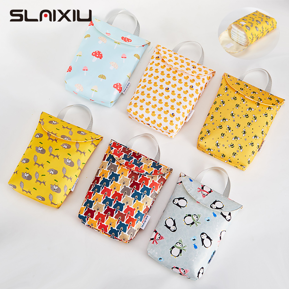 SLAIXIU Diaper Storage Bag Reusable Waterproof Fashion Prints Wet/Dry Bag Storage Bag Travel Nappy Bag title=