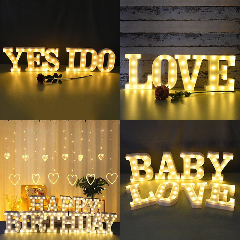 Plastic Letter Number LED Night Light Marquee Sign Alphabet Lights Lamp Home Outdoor Indoor Party Wedding Valentine Decoration