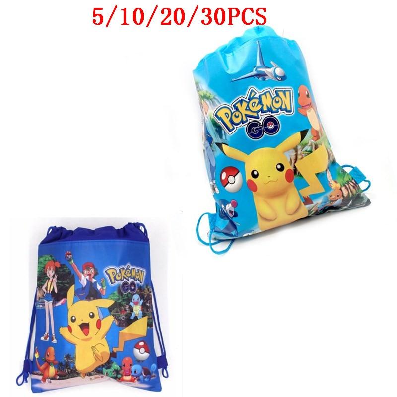 5/10/20/30PCS Decorate Birthday Party Mochila Baby Shower Boys Favors Pokemon Backpack Pikachu Theme Blue Drawstring Gifts Bags