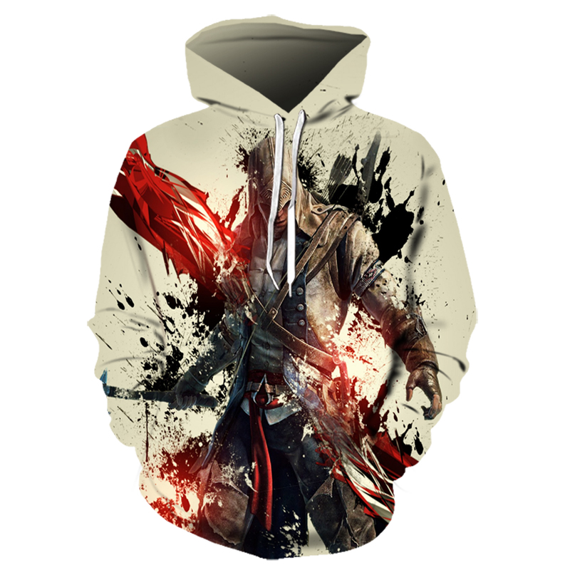 New Hot Sale Assassins Creed Streetwear 3D Print Hoodies Clothing Game Sweatshirt Men Long Sleeve Hip Hop Hoodie Drop Shipping