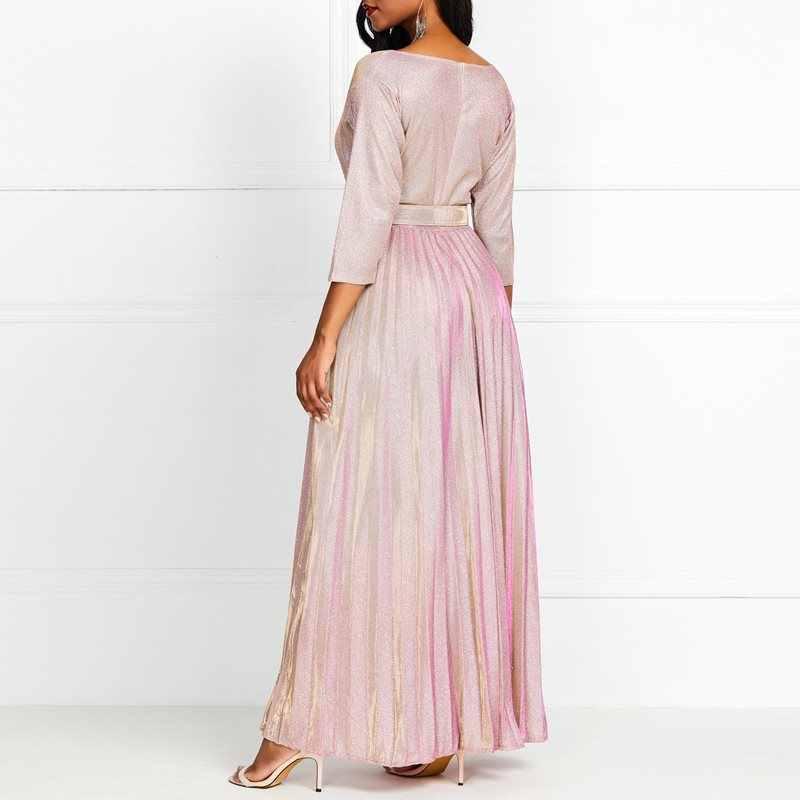 2019 женское длинное платье розовый градиент Плиссированное с v-образным вырезом три четверти рукав пол длинный пояс элегантное вечернее платье плюс размер XL