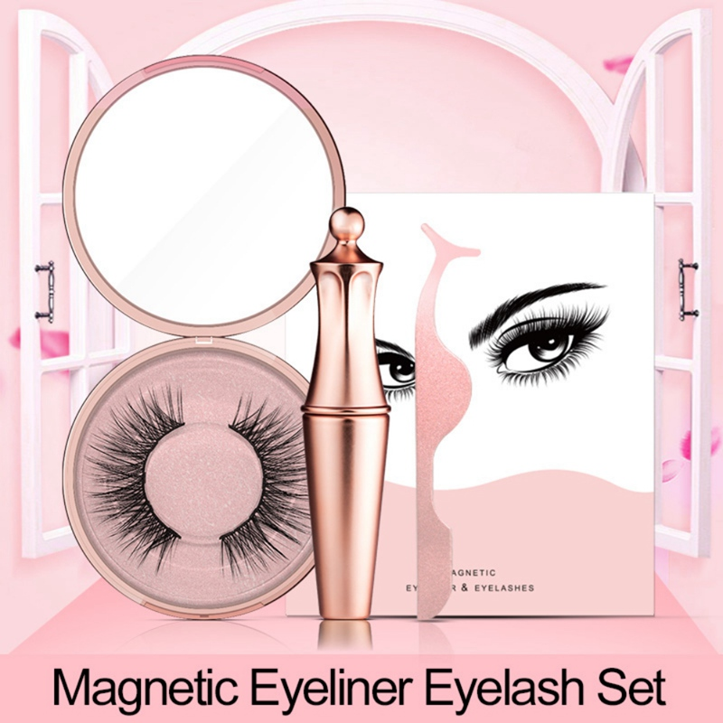 Magnetic Liquid Eyeliner & Magnetic False Eyelashes & Tweezer Set Waterproof Long Lasting Eyeliner False Eyelashes