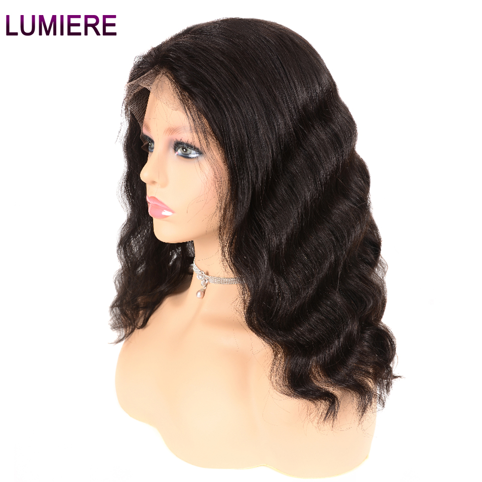 Lumiere Hair Peruvian Body Wave 13X4 Lace Front Human Hair Bob Wig Pre Plucked With Baby Hair Non Remy Free Part Natural Black  グループ上の ヘアエクステンション & ウィッグ からの 人毛レースウィッグ の中 2