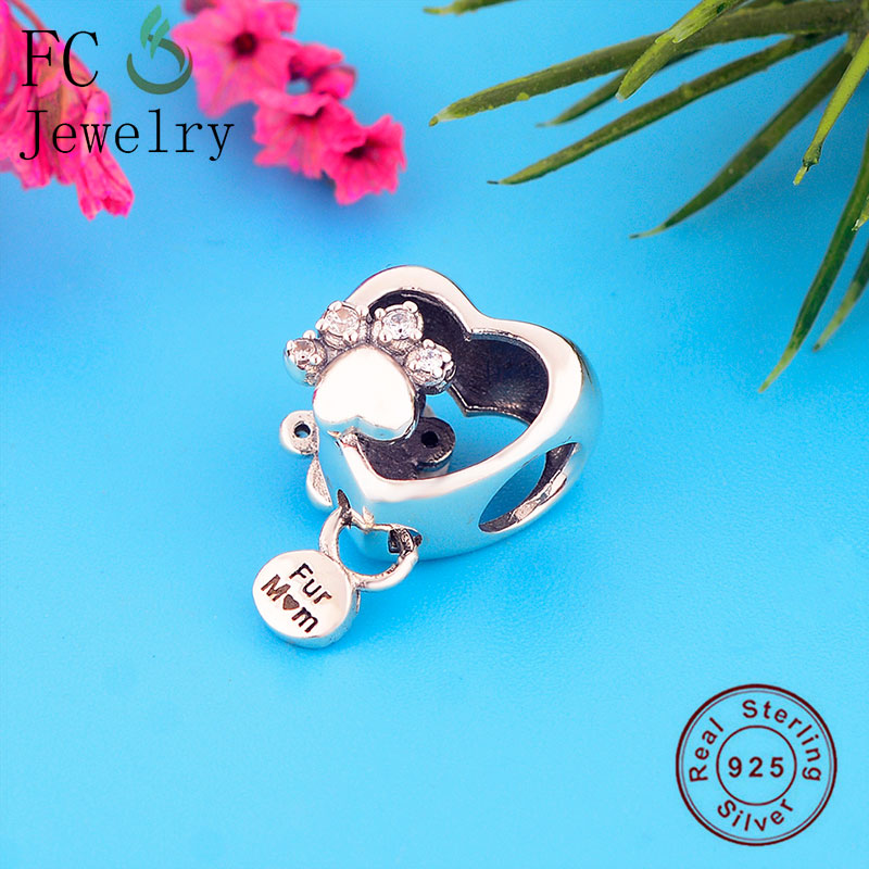 FC Jewelry Fit Original Pandora Charm Bracelet 925 Silver Animal Dog Paw Cubic Zirconia Bead Making Women Spring Berloque 2020