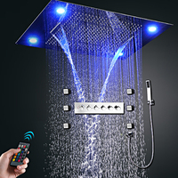Hot Selling Recessed Ceiling Big Rainfall Waterfall Massage Showerhead LED Thermostatic High Flow Shower Faucets Set Body Jet
