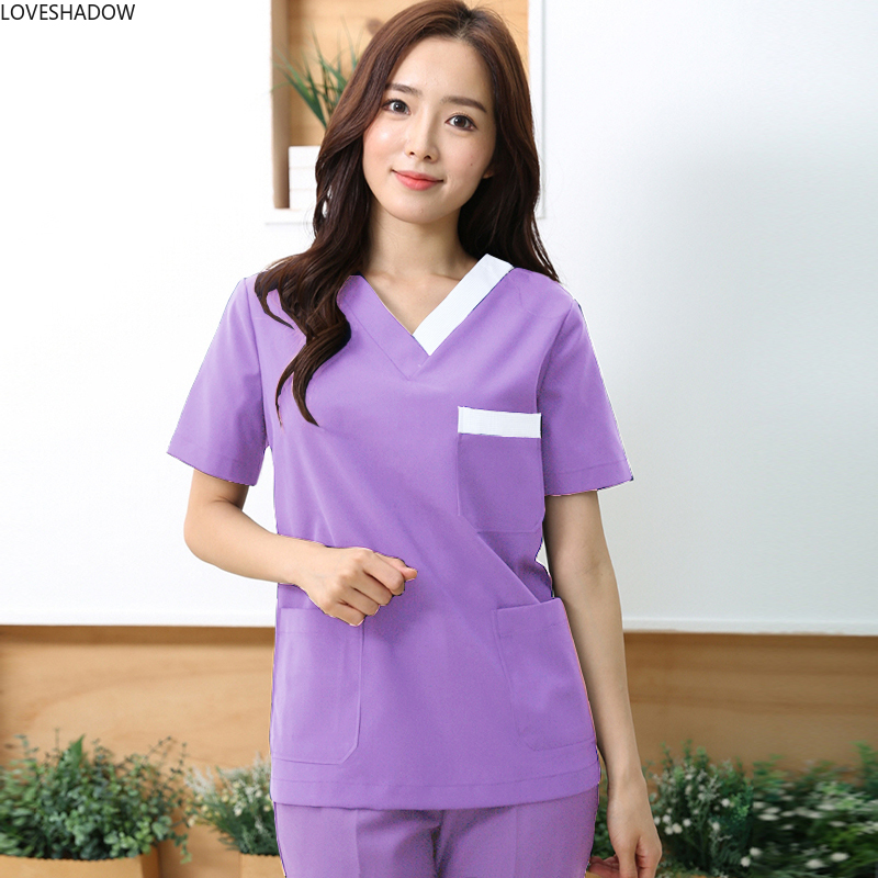 Women's Fashion Medical Clothing Surgery Doctor Nurse Scrub Uniforms Short Sleeve Scrub Top Pure Cotton V-neck Shirt Work Wear