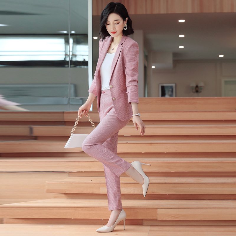 Gray Pink Plaid Female Elegant Women's Pants Trouser Suits Dress Jacket Costumes Office Wear Clothing 2 Piece Set Top And Pants