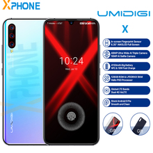 UMIDIGI X 4GB 128GB 6.35 AMOLED Waterdrop หน้าจอ Android 9.0 พาย OCTA Core Quick Charger 48MP กล้อง ID ลายนิ้วมือโทรศัพท์มือถือ