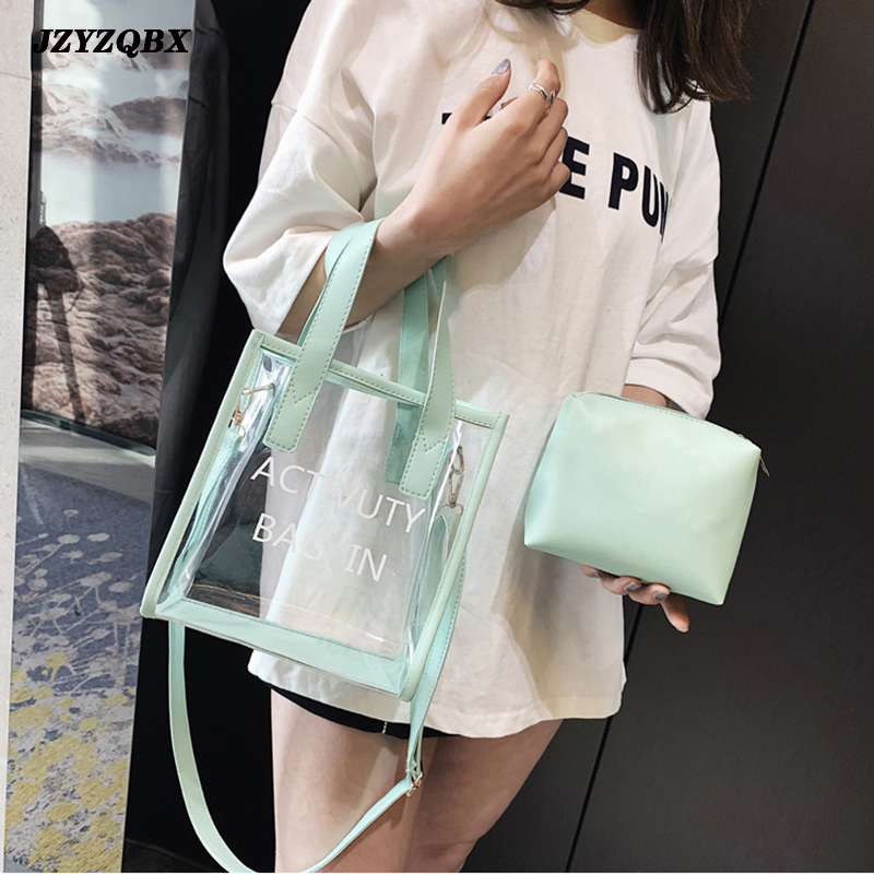 Womens 39 Pouch 2 Piece Set Transparent Handbag Mini Pure Color Jelly Package Large Capacity Messenger Bags bolso mujer in Shoulder Bags from Luggage amp Bags