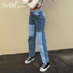 Retalhos reta jeans feminino baggy vintage de cintura alta namorados mãe y2k denim angustiado streetwear 2020 feminino iamhotty