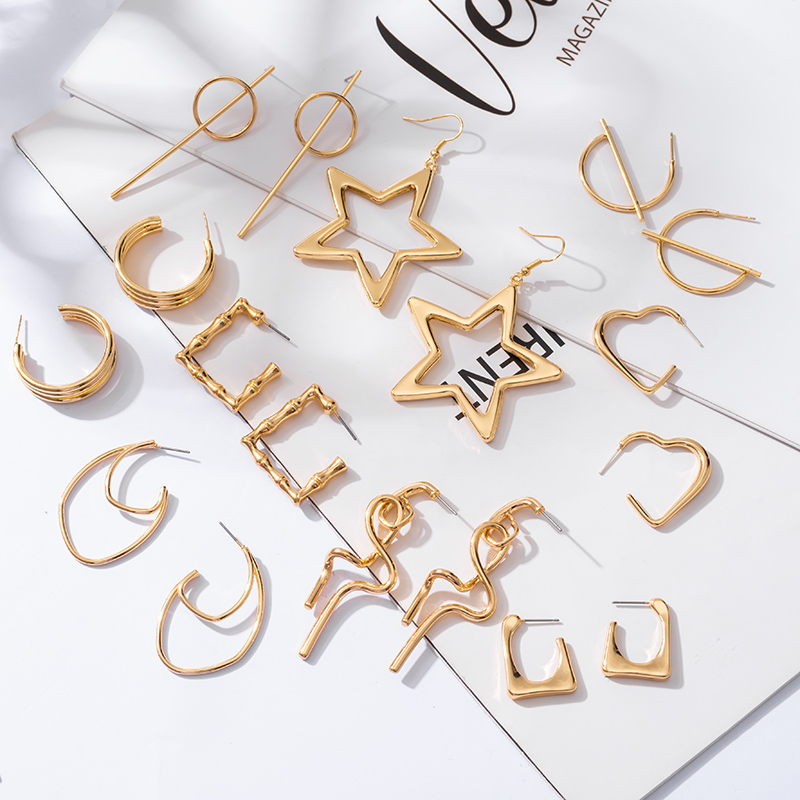 2021 Trendy New Gold Color Earrings For Women Multiple Trendy Round Geometric Drop Statement Earrings Fashion Party Jewelry Gift