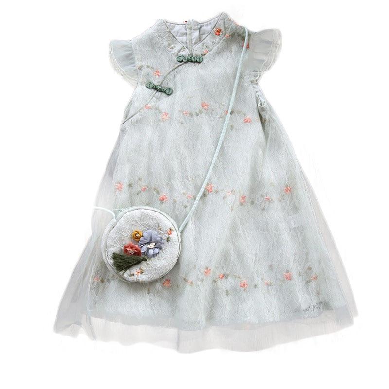 Girls Dress 2021 Summer Round Neck Flying Sleeve Baby Net Yarn Floral Chiffon Chinese Ethnic Style Children Cheongsam Dress Girl 4