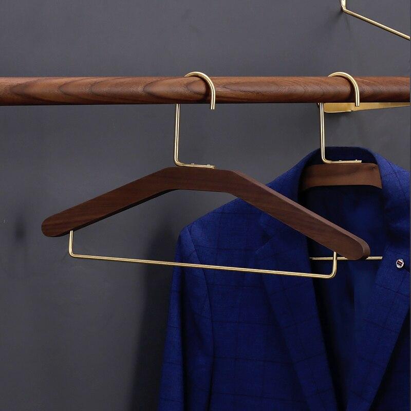 Solid Wood Hanger Clothes Rack Home Bedroom Non-slip Multifunctional Pants Clip Creative Wide-shoulder Clothes Hanging