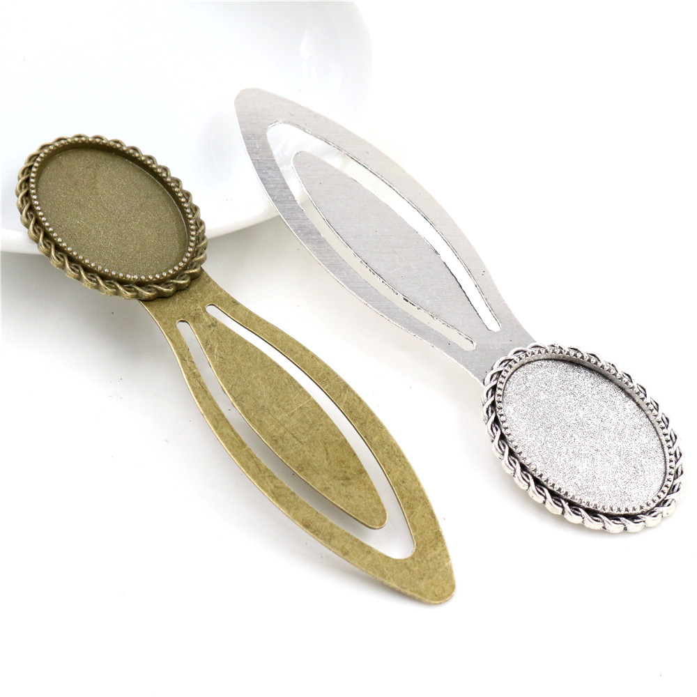 New Fashion 2pcs 18x25mm Inner Size Antique Silver Plated Bronze Simple Style Handmade Bookmark Cabochon Base  Cameo Setting