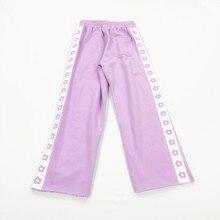 Новинка; Лидер продаж; женские повседневные спортивные штаны с цветочным принтом; модные корейские женские трикотажные прямые женские штаны