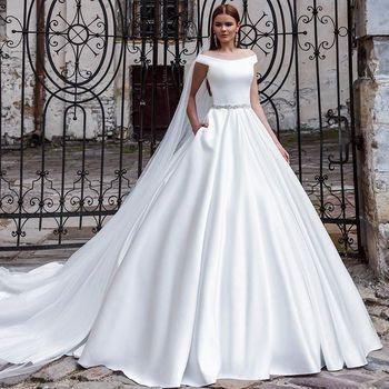 2021 New Mrs Win Wedding Dress Luxury Satin Elegant Boat Neck Gown With Train Back Button Vestido De Noiva Plus Size - discount item  31% OFF Wedding Dresses