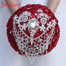 European Burgundy Satin Rose Flowers Holding Crystal Artificial Wedding Bouquet Bridal Bridesmaid W289D
