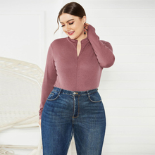Plus Size Stand Collar Knitted Bodysuit Long Sleeve Sweater Jumpers Female Autumn Slim Ribbed Rompers Sexy Overalls For Women