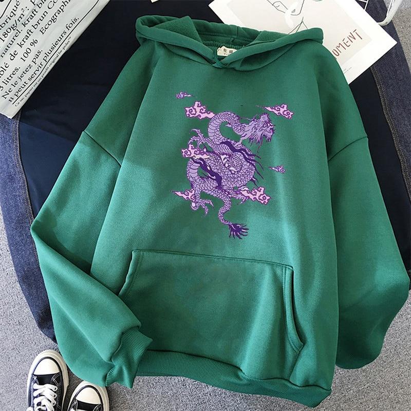 Dragon Print sweatshirt Women hoodie Cute Hip hop Kawaii Harajuku Oversized kawaii womens tops clothes 5