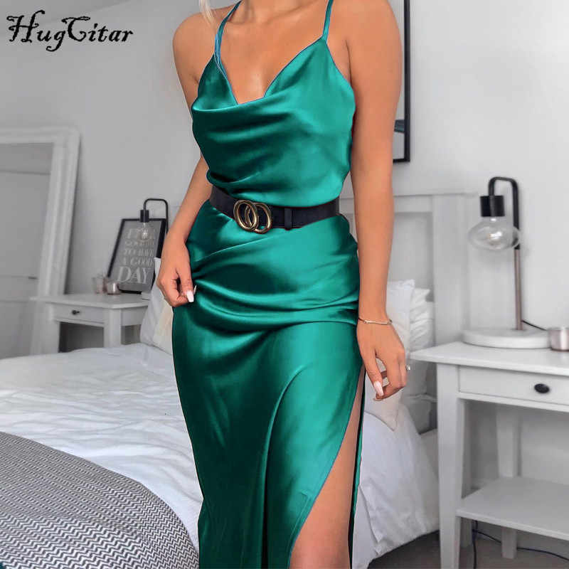 Hugcitar 2019 Satin Sleeveless Slit Sexy Slip Jurk Herfst Winter Vrouwen Party Elegante Jurken Outfits Streetwear