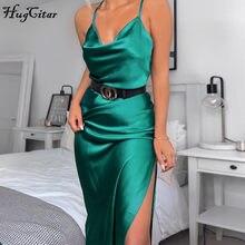 Hugcitar – robe slip en satin sans manches, sexy, fendue, tenue de soirée élégante, streetwear, automne hiver, 2019