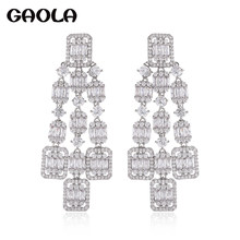 GAOLA New Design Long Dangle Earrings Clear Zircon Geometric Earring Pulseras Mujer Christmas Gifts Jewelry Bijoux GLE9220(China)