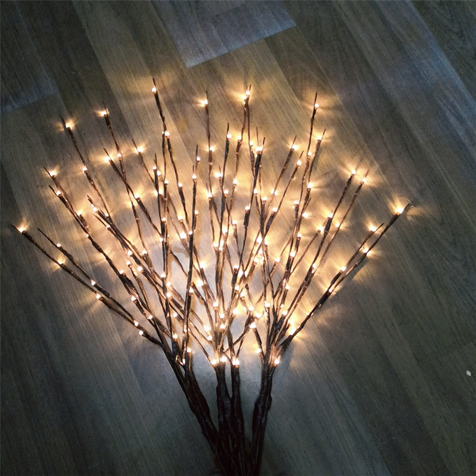 20LEDs Lighted Branches Lamps Battery Powered Vase Christmas Light LED Willow Branch Lights Home Bedroom Living Room Decoration