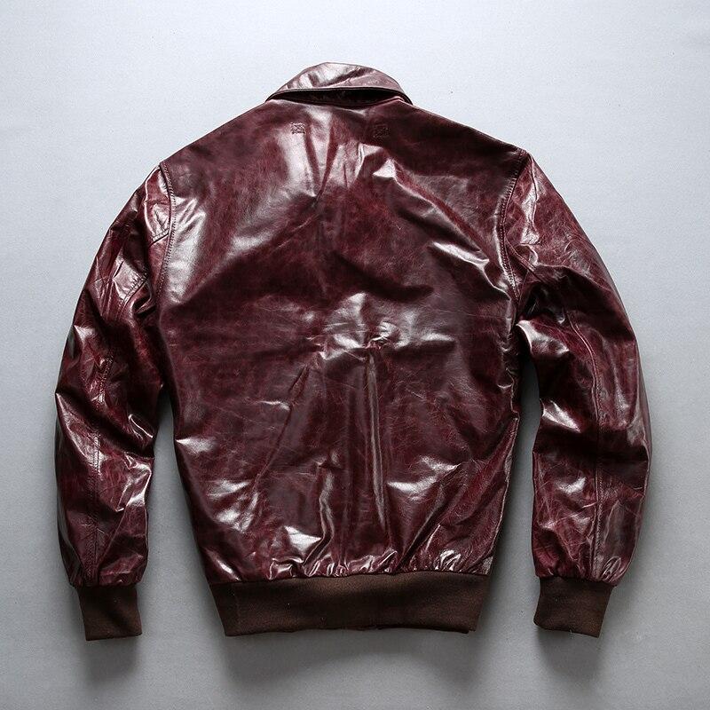 FLY Men's A2 Air Force Flight Sheepskin Genuine Men Motorcycle Leather Coat Bomber Jacket