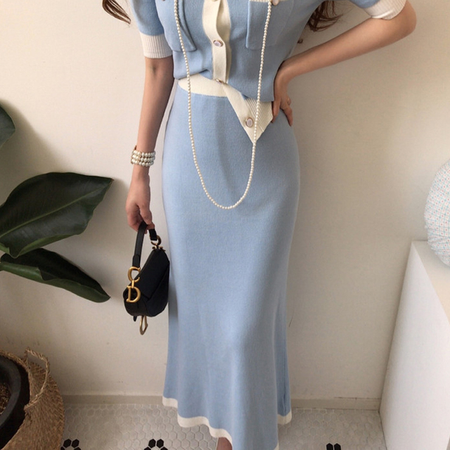 Elegant Knitted 2 Pieces Sets Single Breasted Short Sleeve O-neck Top + High Waist Long Skirt 3