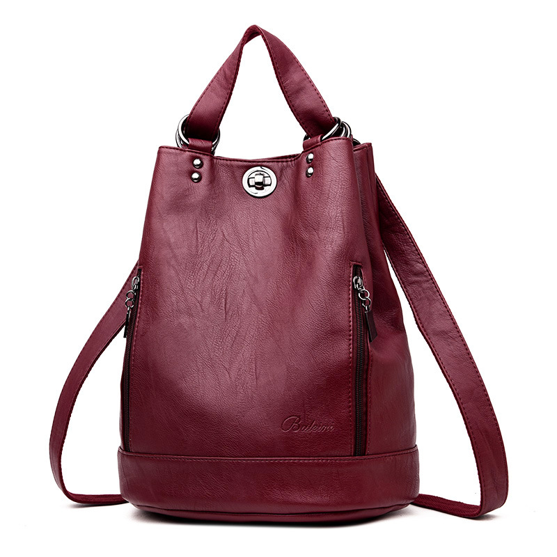 Women's shoulder bag Young Mommy soft noodle PU leather bucket bag in the middle style schoolbag all kinds of women's backpack