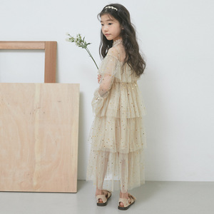 Image 2 - 4 to 16 Years New 2021 Spring Stars Sequins Girls Dress Lace Baby Princess Mother and Daughter Beautiful Clothes,#3995
