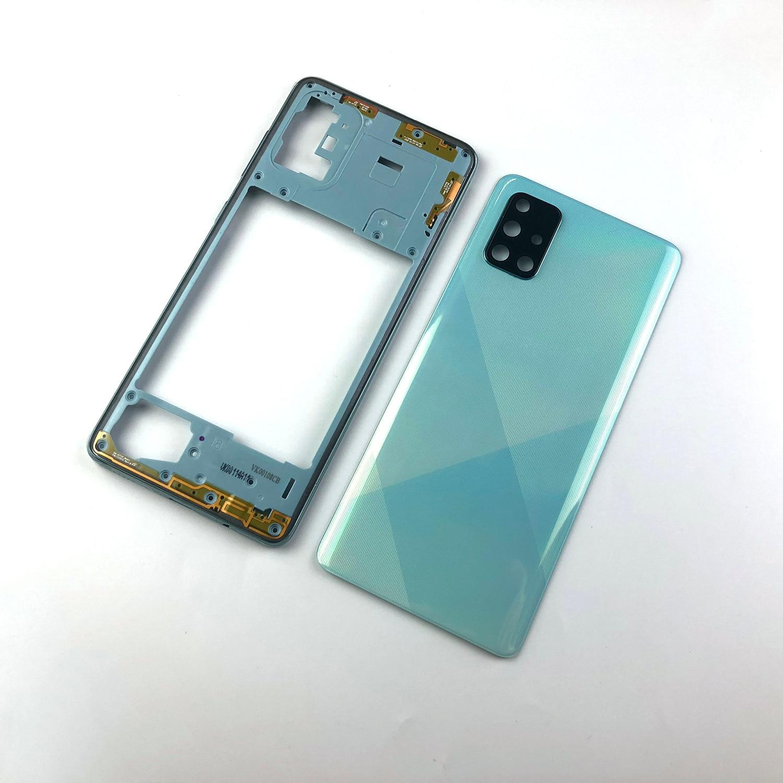 Для Samsung Galaxy A71 2020 A715 A715F корпус средняя рамка + задняя крышка аккумулятора задняя дверь + объектив камеры запасная часть + логотип