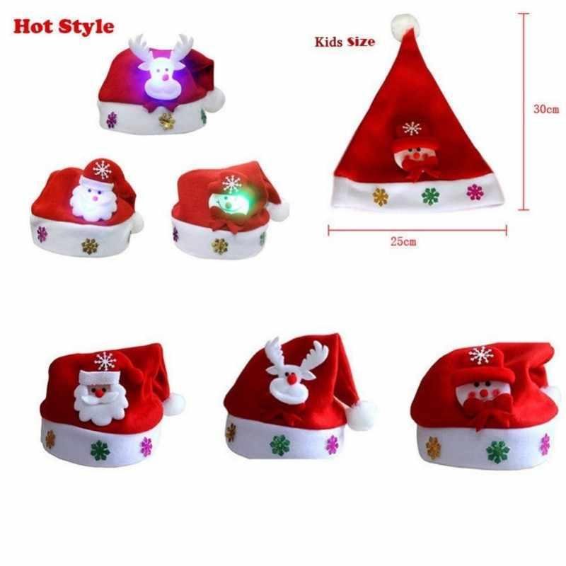 Luz led up chapéus de natal chapéus de papai noel crianças feminino meninos meninas boné ornamentos decoração para festa de natal adereços