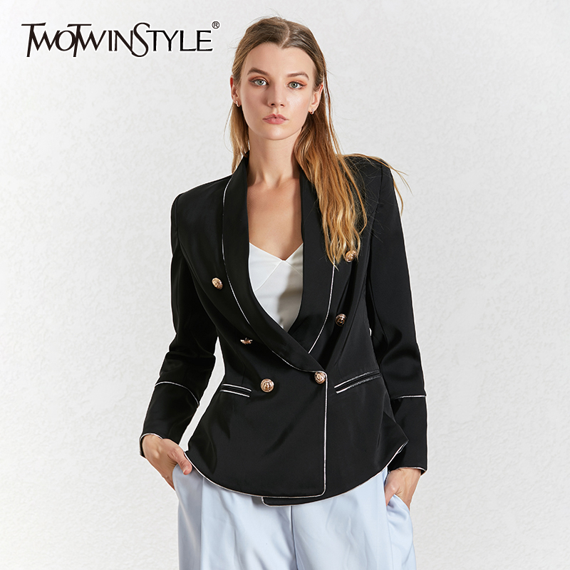 TWOTWINSTYLE Hit Color Elegant Women's Blazer Notched Collar Long Sleeve Summer Oversize Jacket Female 2019 Fashion Clothes New