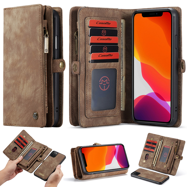 For iPhone 12 Pro SE 2020 6 6s 7 8 Plus XS Max XR 10 X XS Wallet Case Zipper Flip Leather Cover For iPhone 11 Pro Max Phone Case