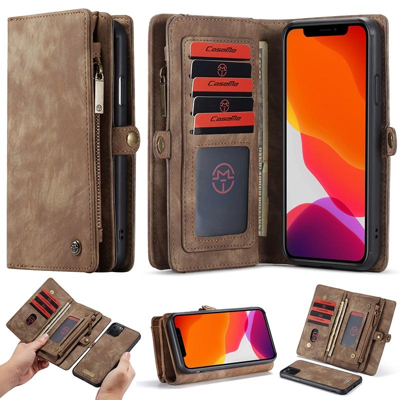 For iPhone 6 6s 7 8 XS Max XR X XS Wallet Case Luxury Zipper Flip