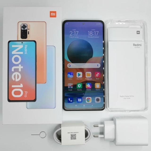 Global Version Xiaomi Redmi Note 10 Pro Mobile Phone 8GB 128GB Snapdragon 732G Octa Core 108MP Quad Camera 5020mAh Battery 6