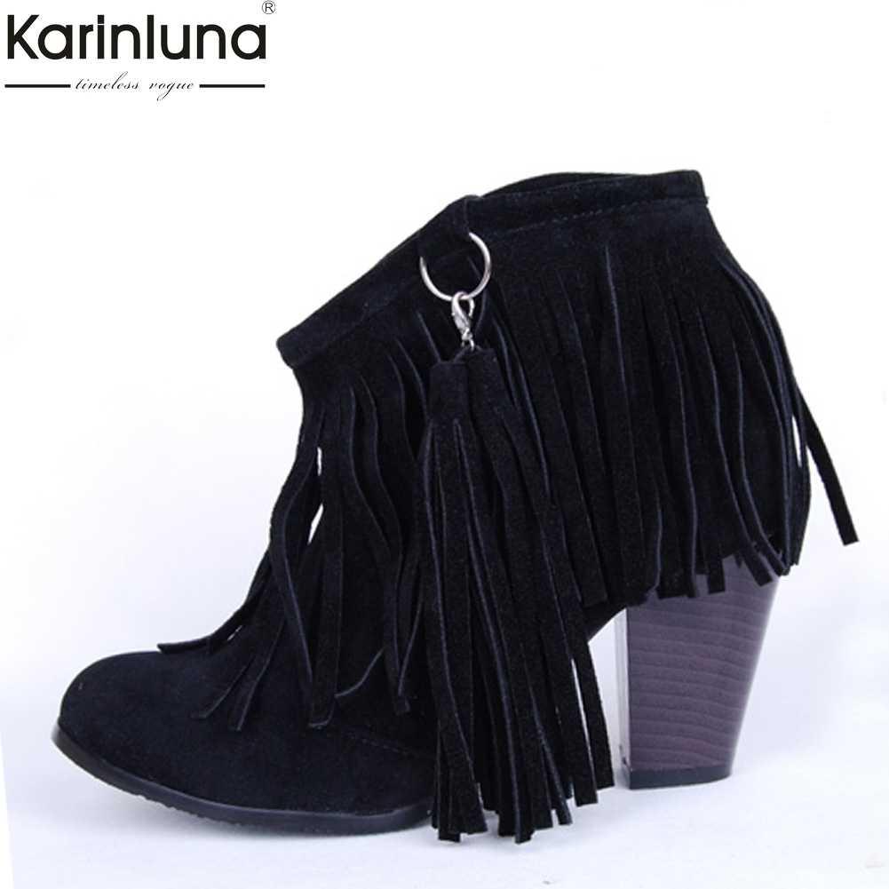f9c1085fa88 MEMUNIA 2019 new arrival women ankle boots flock tassel lace up ...