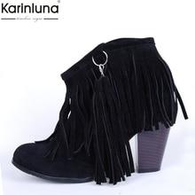 Zapatos KARINLUNA de talla grande 48, negro, marrón, rosa, borlas, tacones altos, zapatos de mujer, botas occidentales 2019, botines con flecos vintage