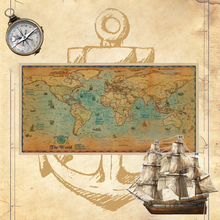 Nautical Ocean Sea world map Retro old Art Paper Painting Home Decor Sticker Living Room Poster Cafe Antique poster 100*50cm