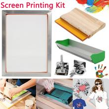 5Pcs/Set Screen Printing Kit Aluminum Frame+Hinge Clamp+Emulsion Coater+Squeegee все цены