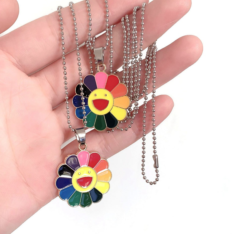 2019 New Fashion Simple Classic Murakami Sun Flower Sunflower Colorful Petals Can Be Rotated Hip Hop Pendant Necklace