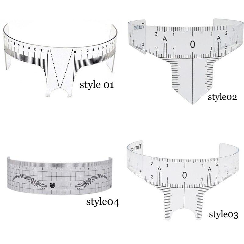 New Arrival Eyebrow Grooming Stencil Shaper Ruler Measure Tool Makeup Reusable Eyebrow Ruler Tool Measures Disposable Sticker