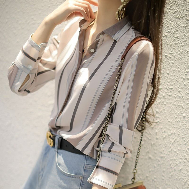 Spring Autumn Style Women Chiffon Blouses Shirts Lady Office Work Wear Stand Collar Striped Printed Blusas Tops DD8953 2