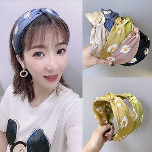 Bandeau de cheveux petite marguerite fleurie   Nouveaux accessoires pour cheveux, bandeau à large bordure, bande de cheveux de fille