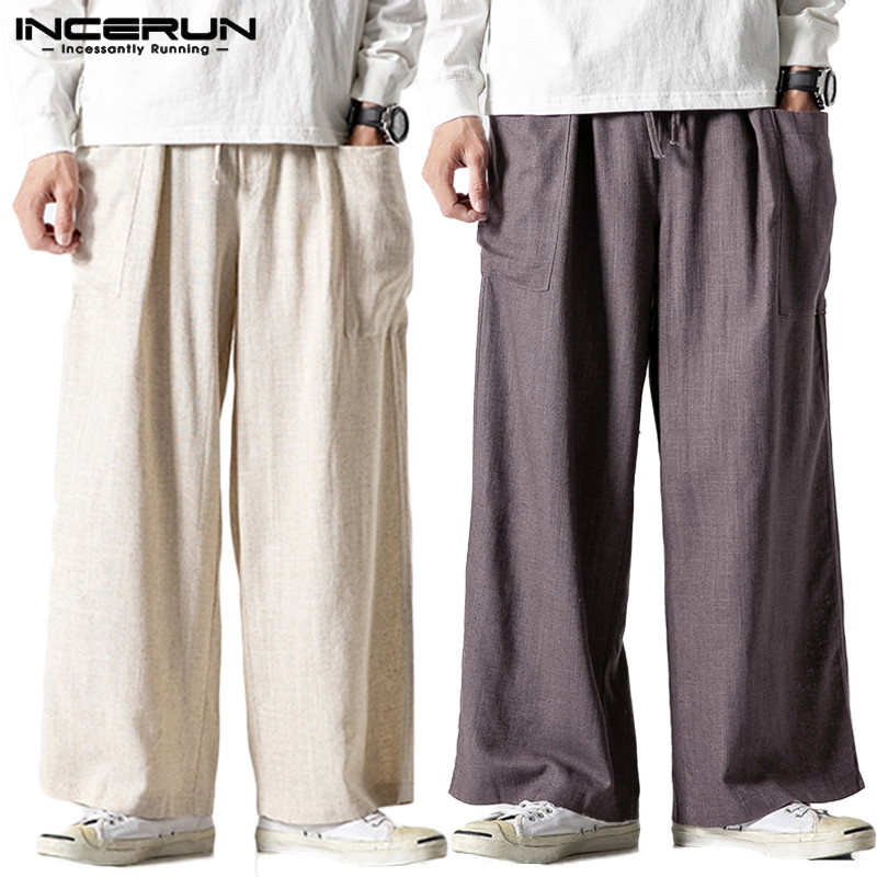 INCERUN Brand Baggy Pants Men Solid Straight Pants Casual Cargo Trousers Street Cotton Elastic Waist Mens Sweatpants Joggers